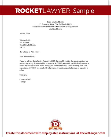 Monthly Rent Increase Letter Rent Increase Letter With Sle Notice Of Rent Increase Template Form