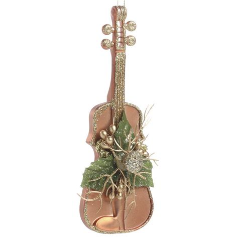 glittered copper violin christmas ornament wall hanging
