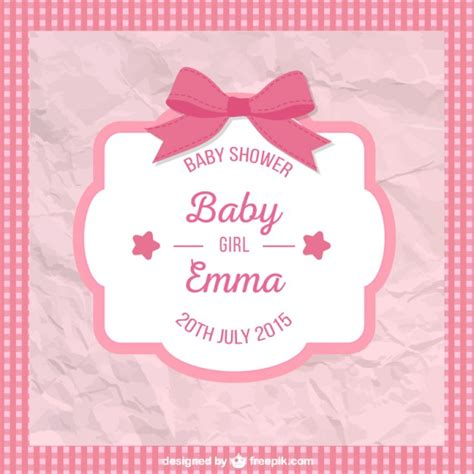 baby month card template crumpled baby shower card for vector free