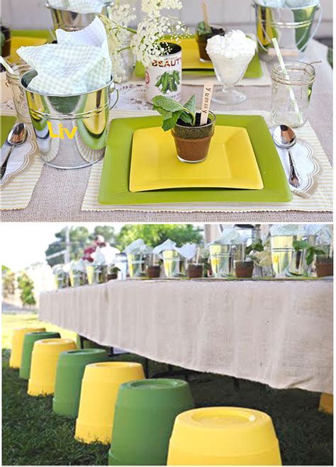 garden themed table decorations fresh garden thoughtfully simple