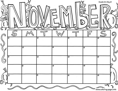 coloring page for november november calendar coloring pages printable