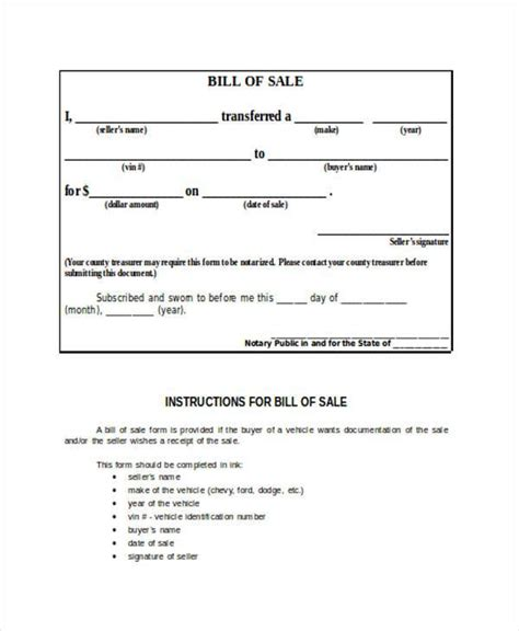 printable free bill of sale bill of sale forms free