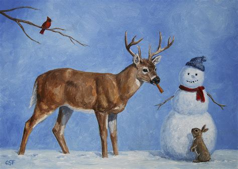 Home Decor Wall Posters whitetail deer and snowman whose carrot painting by