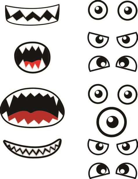 free printable eyes nose mouth monster printables