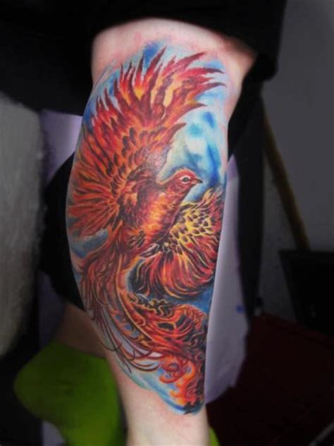 phoenix tattoo lettering fantasy calf phoenix tattoo by serenity ink 414