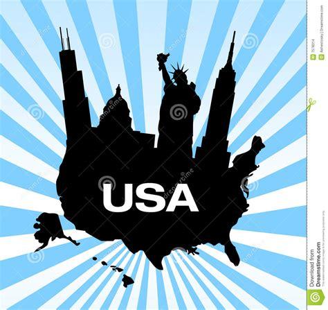 map of united states with landmarks united states travel landmarks stock images image 7578314