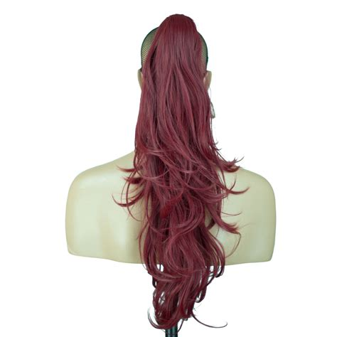 ponytails at work hair extensions types hair extensions ponytail clip in hair extensions burgundy reversible 4