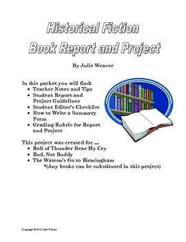 Book Report Ideas Historical Fiction by Historical Fiction Book Report And Project By Weaver S Wonders Tpt