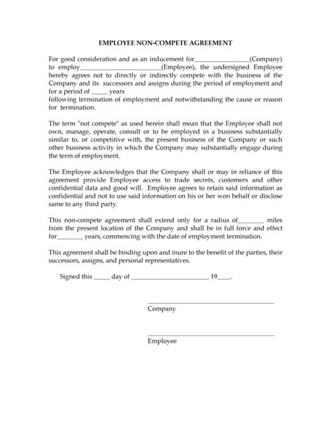 employee non compete agreement template non compete agreement tempalte