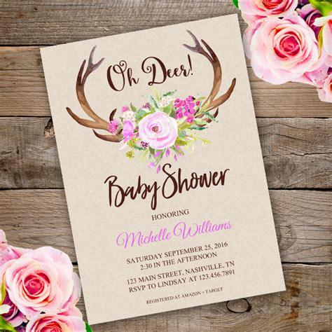Free Printable Deere Baby Shower Invitations by Oh Deer Baby Shower Invitation Template Edit With Adobe