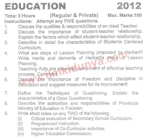 Mba Past Papers Karachi Affiliated Colleges by Karachi Education Ba Part 1 Past Paper 2012