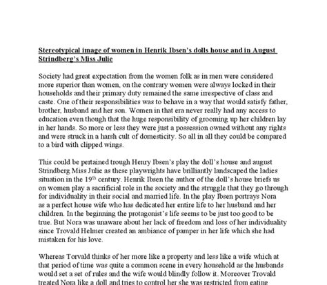 a doll house full text pdf stereotypical image of women in henrik ibsens dolls house and in august strindbergs