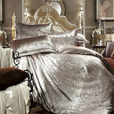 luxury tribute silk satin jacquard silver bed linen