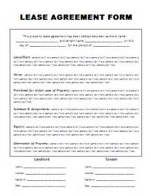 On Lease Lease Agreement Form A To Z Free Printable Sle Forms
