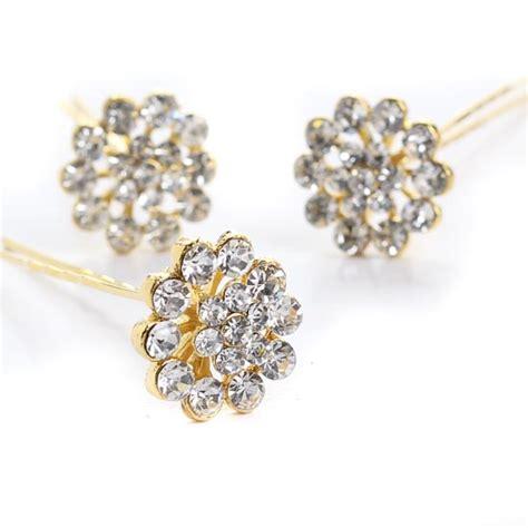 Flower Rhinestone Hair Pin rhinestone flower fashion gold hair pins hair