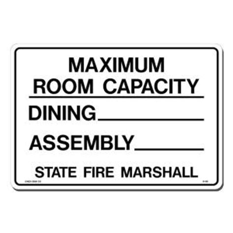 Room Capacity by Lynch Sign 14 In X 10 In Black On White Plastic Maximum