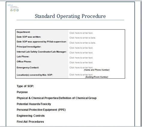 best standard operating procedure template standard operating procedures exles world of exles