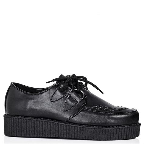 flat creeper platform shoes black leather style