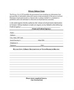 privacy release form template 51 sle release forms