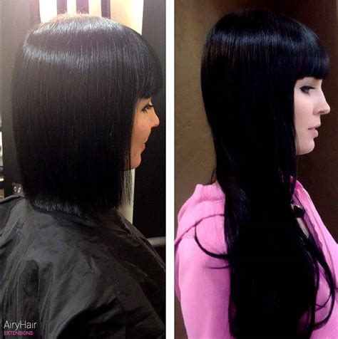 black extensions hair hair extensions before after images medium and hair