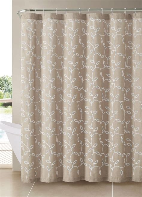embroidered shower curtains taupe beige brown caleb embroidered leaves fabric bathroom