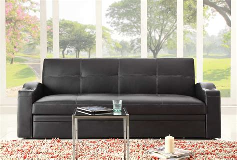 Black Leather Sofa Bed Novak Black Leather Sofa Bed With Pull Out Trundle Sofa Beds He 4803blk 8