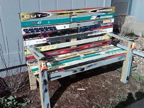 bench made of skis ski bench will make someday with my old skis home