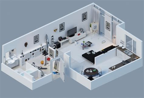 3d apartment apartment designs shown with rendered 3d floor plans