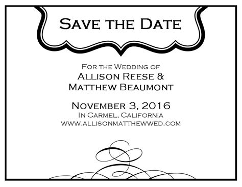 Black And White Save The Date Card Black And White Save The Date Templates