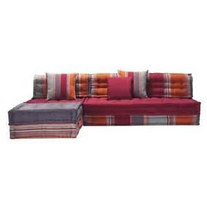 banquette d angle 5 places en coton multicolore cancun