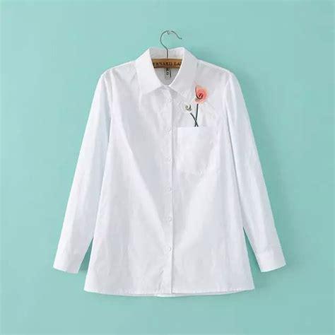 Pakaian Hangat Wanita Sweater Murah Outer Putih Lucu Dear jual 22061 baju kemeja putih cewek korea kantong muncul bunga lucu pocket s wardrobe di