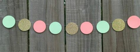 Lil Dot Paper Garland Green mint green and gold paper circle garland coral