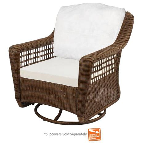 swivel rocker chair covers hton bay brown wicker patio swivel rocker