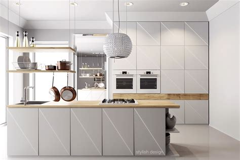 white kitchen with wood   Kitchen and Decor