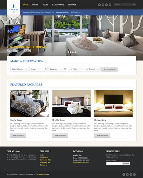 Templates For Resort Website | anchor inn hotel and resort site template by