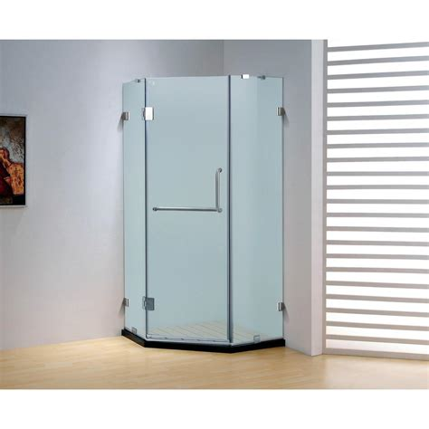 Frameless Neo Angle Shower Doors Dreamwerks 39 4 In X 79 In Frameless Neo Angle Hinged Shower Door In Chrome With Handle