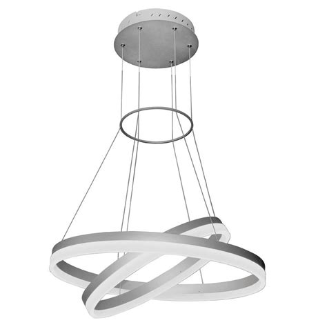 Modern Circular Chandelier Vonn Lighting Tania Duo 65 Watt Silver Integrated Led