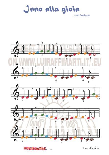 testo inno alla gioia italiano inno alla gioia note colorate spartiti per bambini