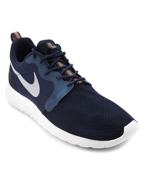 nike roshe run sneaker nike roshe run hyp navy sneakers in blue for navy lyst