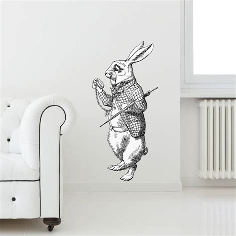 rabbit wall stickers white rabbit vinyl wall sticker by oakdene designs notonthehighstreet