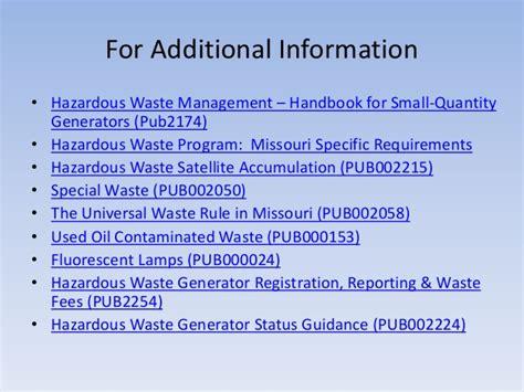 hazardous laboratory chemicals disposal guide third edition books management of hazardous waste in missouri