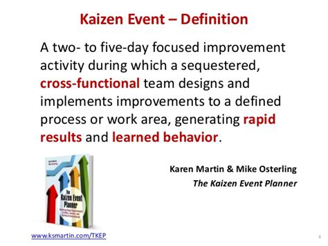 kaizen what is it definition exles and more kaizen event definition a