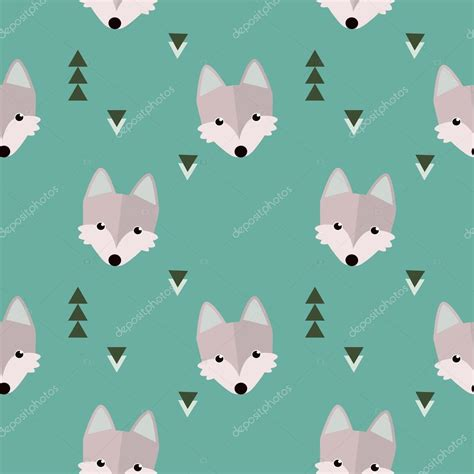 wolf pattern stock wolf pattern on blue background stock vector