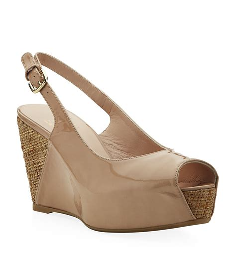 Sandal Deo 3 Marc Stuart Shoes stuart weitzman topper patent wedge sandals in beige lyst