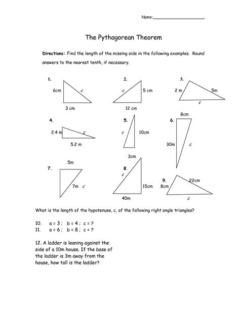 pythagorean theorem worksheet 11 best images of chemistry worksheets pythagorean