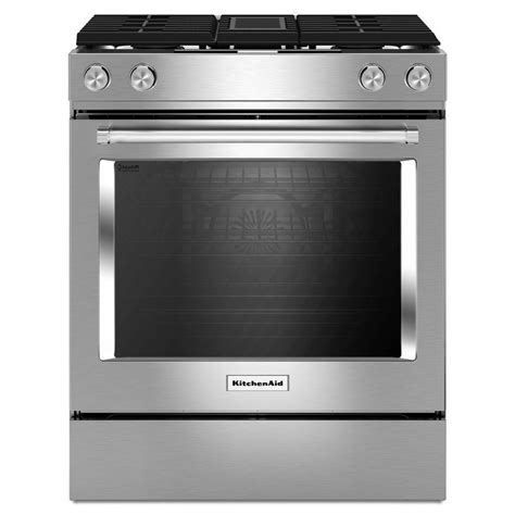 dual fuel range with downdraft exhaust shop kitchenaid recessed 4 burner self cleaning