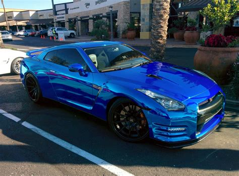 nissan chrome nissan gtr r35 blue chrome