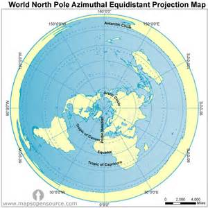 Map Of The World North Pole by World North Pole Azimuthal Equidistant Projection Map