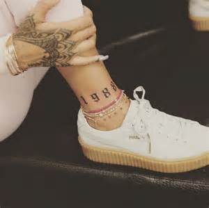 rihanna rocks new 1988 ankle tattoo inked by bang bang