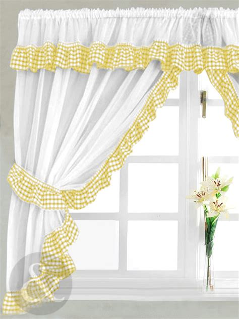 kitchen curtains yellow gingham check yellow white kitchen curtain curtains uk
